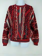 Cotton Traders Coogi-Style Textured Sweater Red Green Holiday Kwanza Christmas L