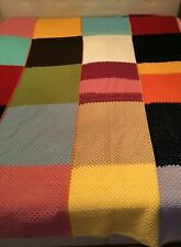 Vintage Multicolour Crocheted Granny Squares Blanket Quilt big one