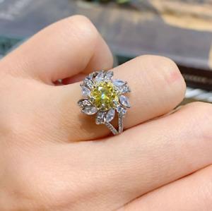 2 Ct Round Cut Yellow Citrine & Diamond Halo Engagement Ring 14K White Gold Over