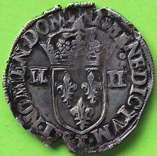 FRANCE 1/4 ECU HENRI III 1587 T