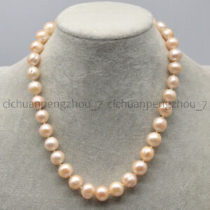 Huge 12-14mm Natural Pink Freshwater Cultured Baroque Pearl Necklace 16-36''