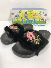 Link Girls Kids Black Faux Fur Fuzzy Slipper Slides Sandals Pink Rose Size 3