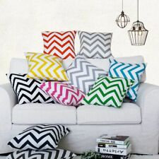 Wave pattern print Cotton canvas Cushion cover Pillowcase