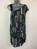 WOMENS MONSOON STORM SIZE UK 10 BLACK&GREY SLEEVELESS SILK SUMMER SLIP DRESS