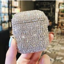 Rhinestone Bling Silver Airpod 1 & 2 Headphone Case NEW