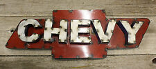 Recycled Tin Metal Chevy Bow Tie Sign Gas Oil Garage Man Cave Home Decor