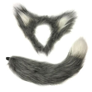 Grey Furry WOLF EARS ON HEADBAND & TAIL Fluffy Halloween Werewolf Riding Hood