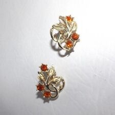 Vintage Orange Rhinestone Earrings - DDD JJX