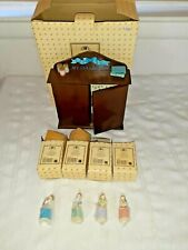 1991 Enesco Pewter Mini Thimbles(lot of 4) w/ Sewing Cabinet Shadow Box