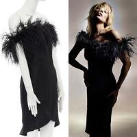 new TOPSHOP KATE MOSS black feather trimmed off shoulder cocktail dress US2 UK6