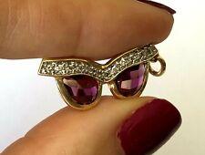 14K Yellow Gold 12 Natural Diamond Amethyst Ladies Pendant Charm Glasses