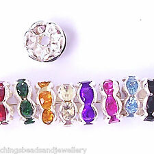 200 Quality Rhinestone Rondelle Spacer Beads 8mm Mixed Colours