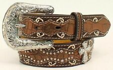 Ariat Girl's Brown Croc Print & Cross Leather Belt A1302802
