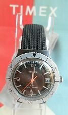 Clean 1970's Vintage Men's Timex Diver's Water Resistant Mechanical Watch Runs