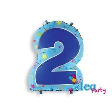PALLONCINO mylar NUMERO 2 h 63 cm Azzurro sagomato, Addobbi festa Compleanno