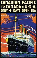 Canadian Pacific Line 1925 Ship To Canada USA Vintage Poster Travel Print Advert