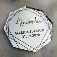 Mirror Acrylic Table Name, Octagon Place Setting, Wedding Place Names