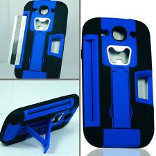 For Samsung Galaxy S 3 III KICKSTAND Case Bottle Opener Card Holder Blue Black
