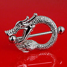 Surgical Steel Dragon Nipple Shield / Bar / Ring
