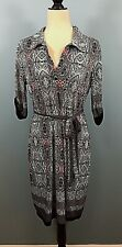 Mlle Gabrielle Womens Dress Size L Shift Stretchy Tie Belt  Geometric (w-294)