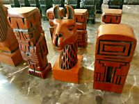 """VINTAGE """"CONTEMPORARY INDIANS"""" STAINED WOOD CHESS SET WITH STORAGE CHEST"""