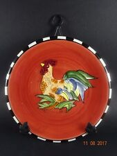 Country Decorative Red Rooster Plate - with Black Metal Wall Hanger