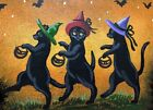 ACEO PRINT OF PAINTING HALLOWEEN RYTA BLACK CAT WITCH TRICK OR TREAT FOLK ART