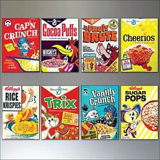 Vintage Cereal Box Fridge Magnets set of 8 large Retro  Reproduction Magnets No2