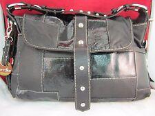 a60ob Barr & Barr Black Medium Patchwork Handbag Purse Shoulder Tote New w/o Tag