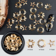 3D Gold Hollow Metallic Flakes Christmas Mixed Snowflake Star Flowers Nail Tips