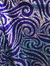 Swirl Design Hologram Fabric Purple Silver On Nylon Spandex Base 4way Stretch