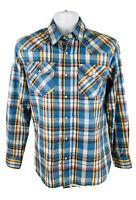 Levis Authentic Western Cowboy Blue Plaid Pearl Snap Long Sleeve Shirt Sz S