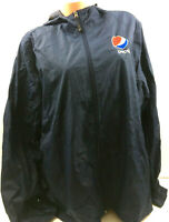 Pepsi Mens Jacket Hooded Lined Windbreaker Employee Embroidered Logo Work Sz 2XL