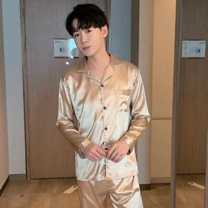 Mens Silk Satin Pajamas Pj Set Top and Bottom Sleepwear Nightwear Casual pijamas