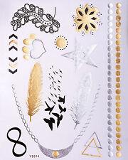 Gold Silber Flash Tattoos Fake Klebe Tattoo Armbänder Stern Vögel Herz YS-14