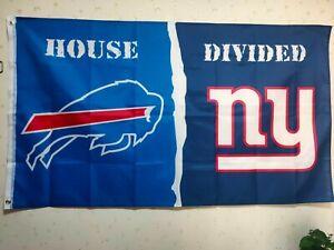 Buffalo Bills New York Giants House Divided Flag 3X5 FT NFL Banner Polyester