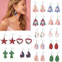 Glitter Leather Teardrop Christmas Drop Dangle Hook Earrings Jewelry Xmas Gift
