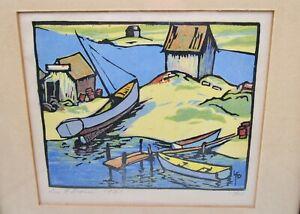 Leo F. Dorn Beached Boat woodblock print 1930s beach nautical art limited ed vtg