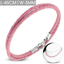 45cm unisex Leder Armband/ Chocker Halskette mit Edelstahl bracelet e-bgo343