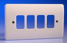 MK Electric Grid Plus K3634 White 4 Gang Moulded Front Cover Plate Light Switch