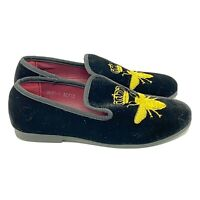 Romano Boys Velvet Slipper Shoe Size Youth 13 Bees Black