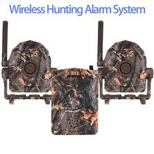 Compact Portable Trail Hunt Wirless Alarm System Receiver+2 Detector PIR Sensor