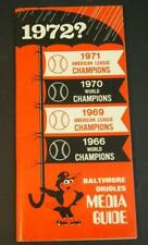 1972 Baltimore Orioles Baseball Media Press-Radio-TV Guide
