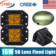 16W CREE LED Work Light 5D Optical Off-road Fog LAMP FLOOD Beam Flush Mount WING