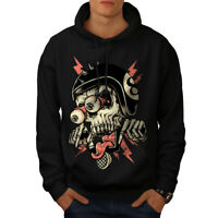 Wellcoda Biker Head Face Skull Mens Hoodie, Death Casual Hooded Sweatshirt