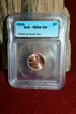 2019 P LINCOLN CENT MINT ERROR CERTIFIED ICG MS66RD FLOATING HEAD VAR. COIN 1C!