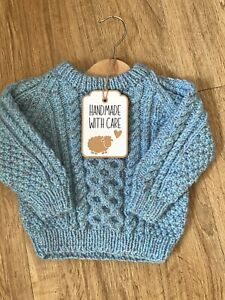 Traditional Hand Knitted Child's Aran Style Wool Blend Crew Neck Jumper Age 1-2