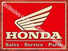 Honda Classic 70's Retro Motorcycle, Bike 108 Old Garage, Large, Metal/Tin Sign