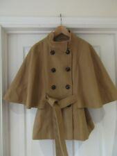F&F Winter Cape Coat Camel Tan Brown Smart Overcoat with Belt UK Size 12