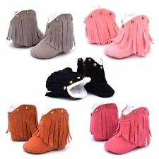 Baby Girl Winter Warm Boots Soft High Ankle  Fringe First Walker Mocks Sneaker
